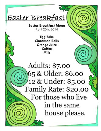 Easter Breakfast Price list
